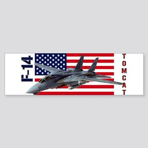 F-14 Tomcat on a USA flag Bumper Sticker