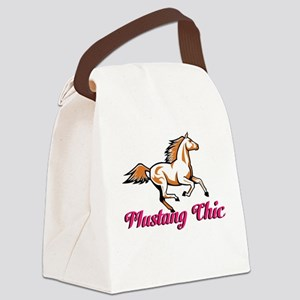 Pink Mustang Chic Canvas Lunch Bag