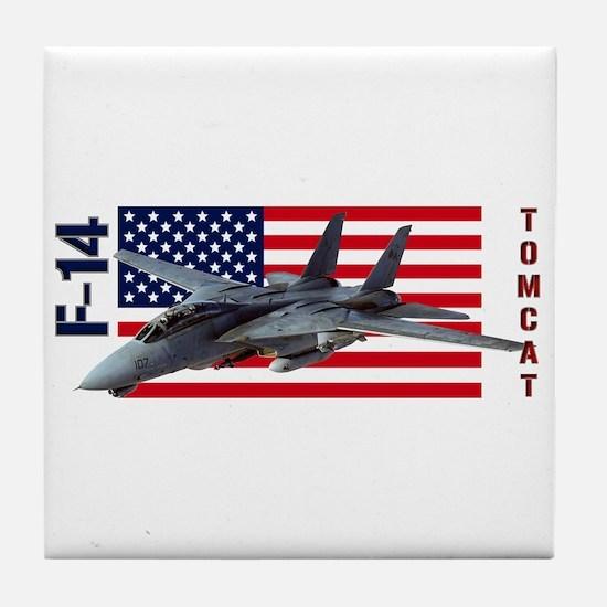 F-14 Tomcat on a USA flag Tile Coaster
