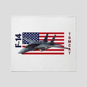 F-14 Tomcat on a USA flag Throw Blanket