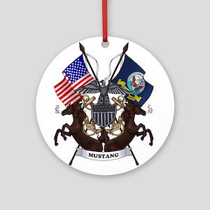 Navy Mustang Emblem Ornament (Round)