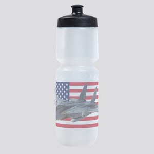 F-14 Tomcat on a USA flag Sports Bottle