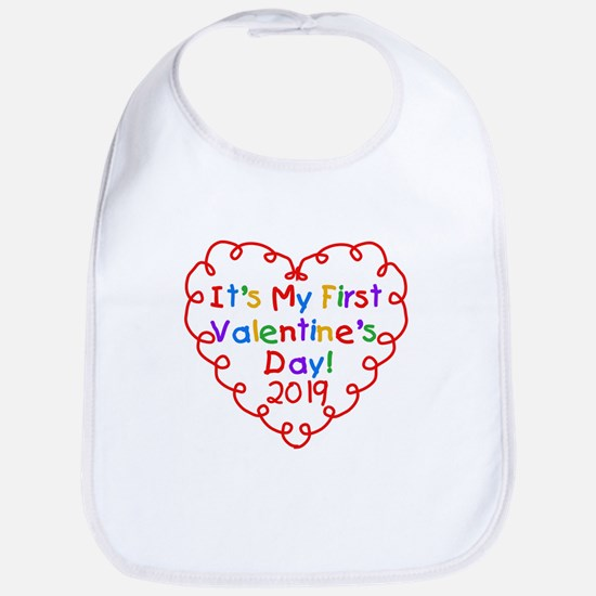 Heart 1st Valentine Day Bib