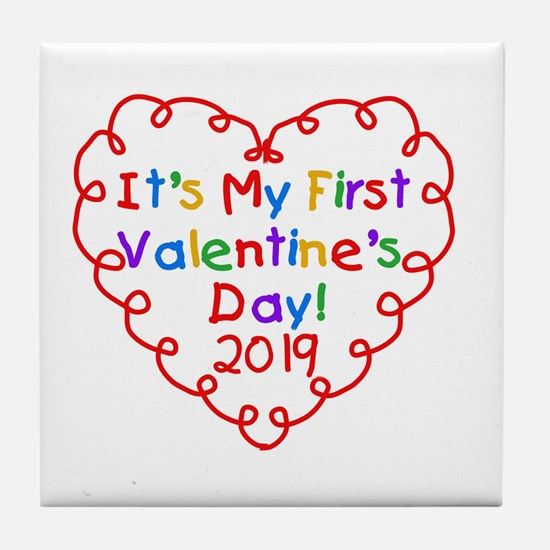 Heart 1st Valentine Day Tile Coaster