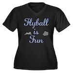 Flyball is Fun Women's Plus Size V-Neck Dark T-Shi