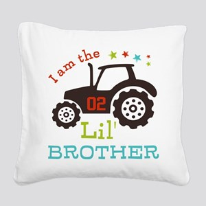 Little Brother Tractor Square Canvas Pillow