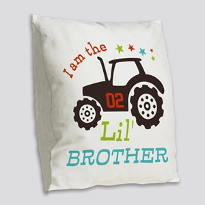 Little Brother Tractor Burlap Throw Pillow