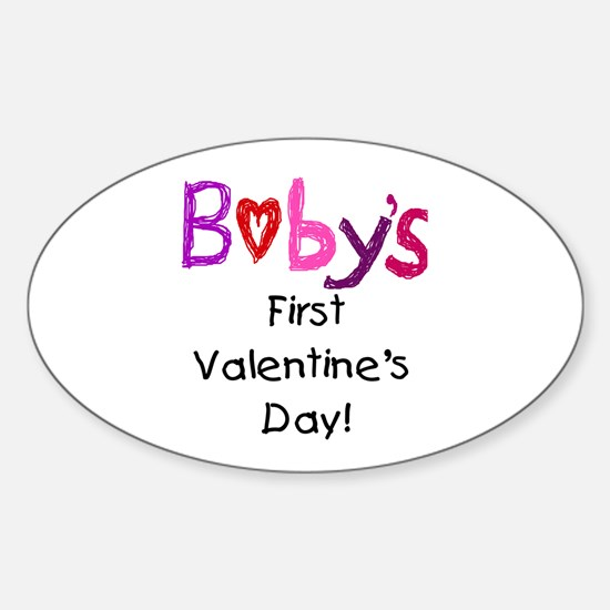 Baby's First Valentine's Day Sticker (Oval)