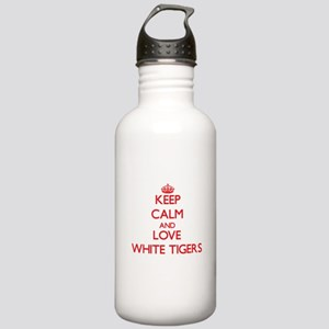Keep calm and love White Tigers Water Bottle