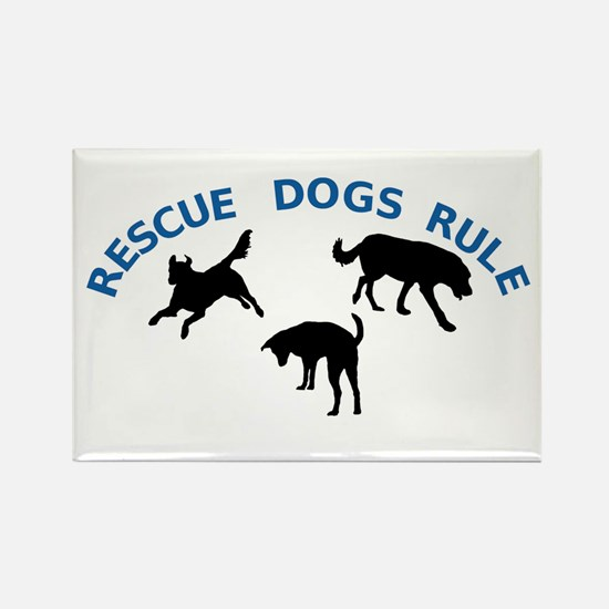Rescue Dogs Rule Rectangle Magnet