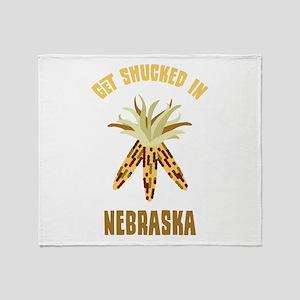 GET SHUCKED IN NEBRASKA Throw Blanket