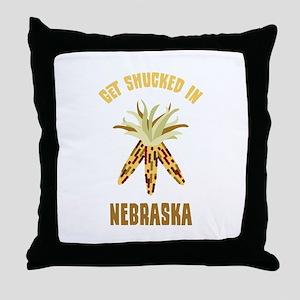 GET SHUCKED IN NEBRASKA Throw Pillow