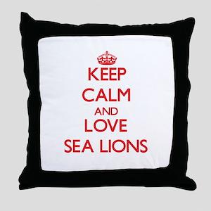 Keep calm and love Sea Lions Throw Pillow