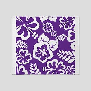 Purple tropical flowers Throw Blanket