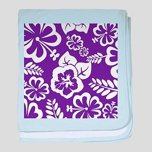 Purple tropical flowers baby blanket