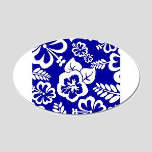 Dark Blue tropical flowers Wall Sticker