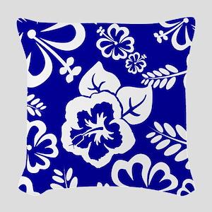 Dark Blue tropical flowers Woven Throw Pillow