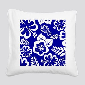 Dark Blue tropical flowers Square Canvas Pillow