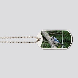 blue jay perched on a tree Dog Tags