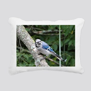 blue jay perched on a tr Rectangular Canvas Pillow