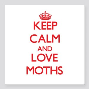 "Keep calm and love Moths Square Car Magnet 3"" x 3"""