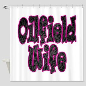 Pink Oilfield Wife Damask Shower Curtain