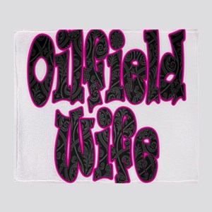Pink Oilfield Wife Damask Throw Blanket