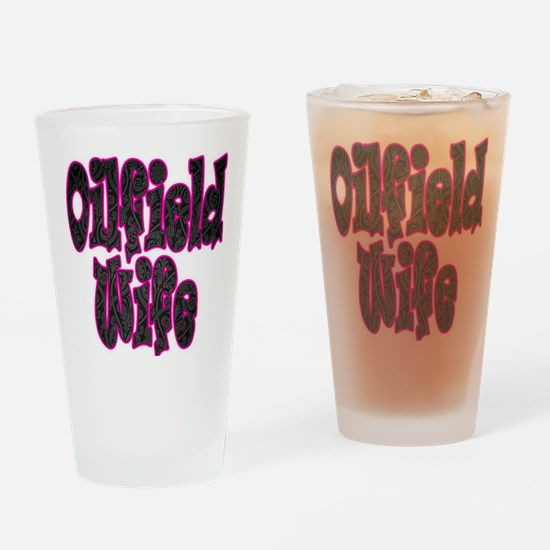 Pink Oilfield Wife Damask Drinking Glass