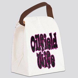 Pink Oilfield Wife Damask Canvas Lunch Bag