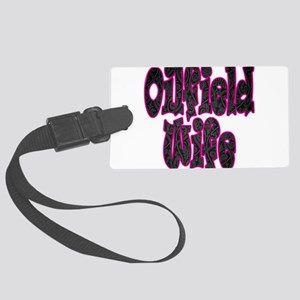 Pink Oilfield Wife Damask Luggage Tag