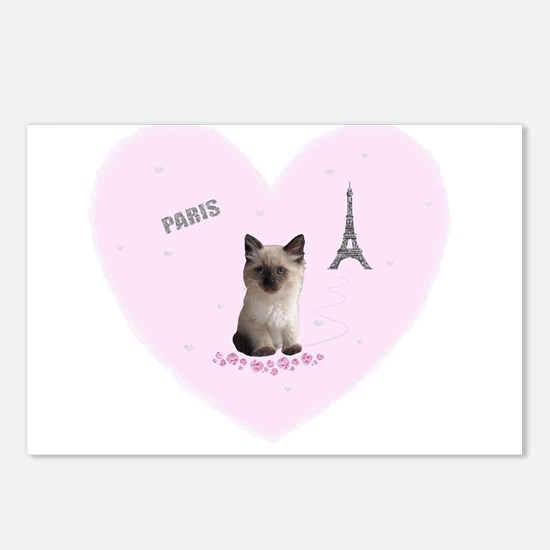 Fifi the Kitten in Paris on a Pink Heart Postcards