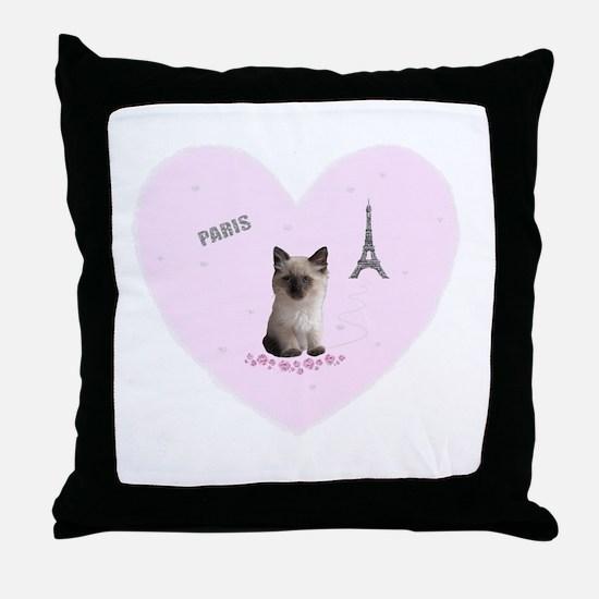 Fifi the Kitten in Paris on a Pink Heart Throw Pil