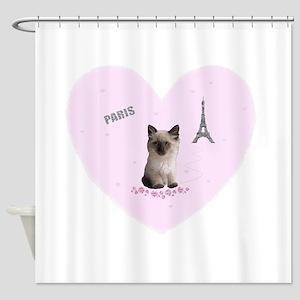 Fifi the Kitten in Paris on a Pink Heart Shower Cu