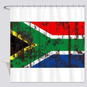 South Africa Grunge Flag Shower Curtain