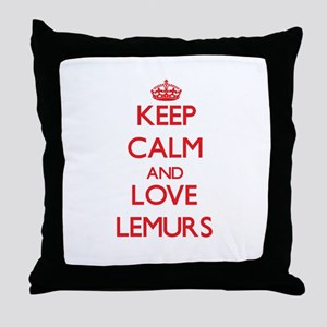 Keep calm and love Lemurs Throw Pillow