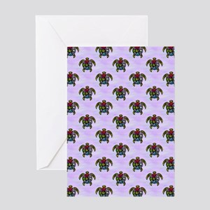 Turtle Ba-Gua Tiled Pattern Greeting Cards