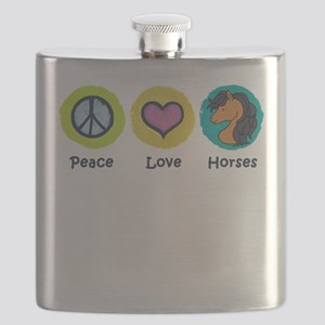 Peace Love Horses Flask
