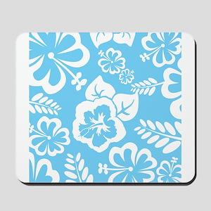 Light Blue Exotic flowers Mousepad