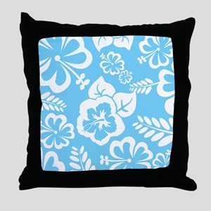 Light Blue Exotic flowers Throw Pillow