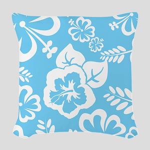 Light Blue Exotic flowers Woven Throw Pillow