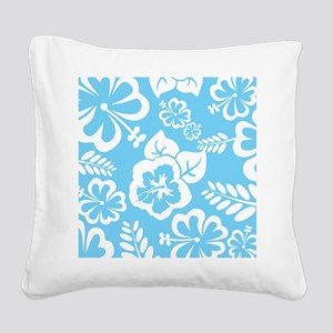 Light Blue Exotic flowers Square Canvas Pillow