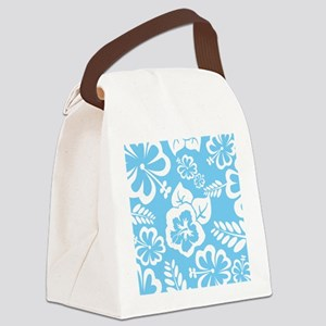 Light Blue Exotic flowers Canvas Lunch Bag