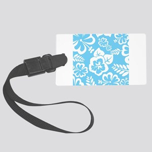 Light Blue Exotic flowers Large Luggage Tag