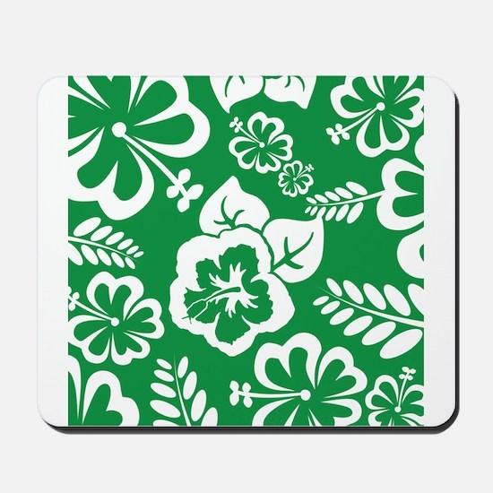 Green Tropical flowers Mousepad