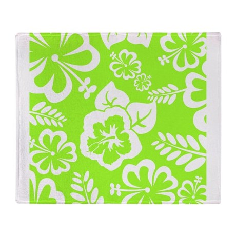 lime green tropical flowers throw blanket by admin cp49789583. Black Bedroom Furniture Sets. Home Design Ideas
