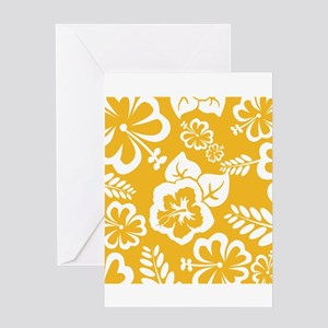 Yellow Tropical flowers Greeting Cards