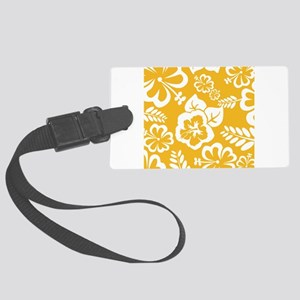 Yellow Tropical flowers Large Luggage Tag
