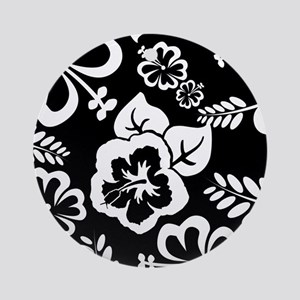 Black and white tropical flowers Ornament (Round)