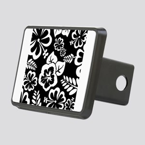 Black and white tropical flowers Rectangular Hitch