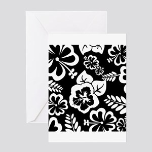 Black and white tropical flowers Greeting Cards